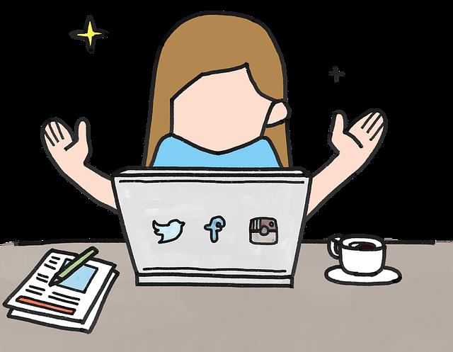 Girl happy at laptop desk