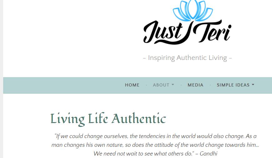 Picture of JustTeri blog webwsite